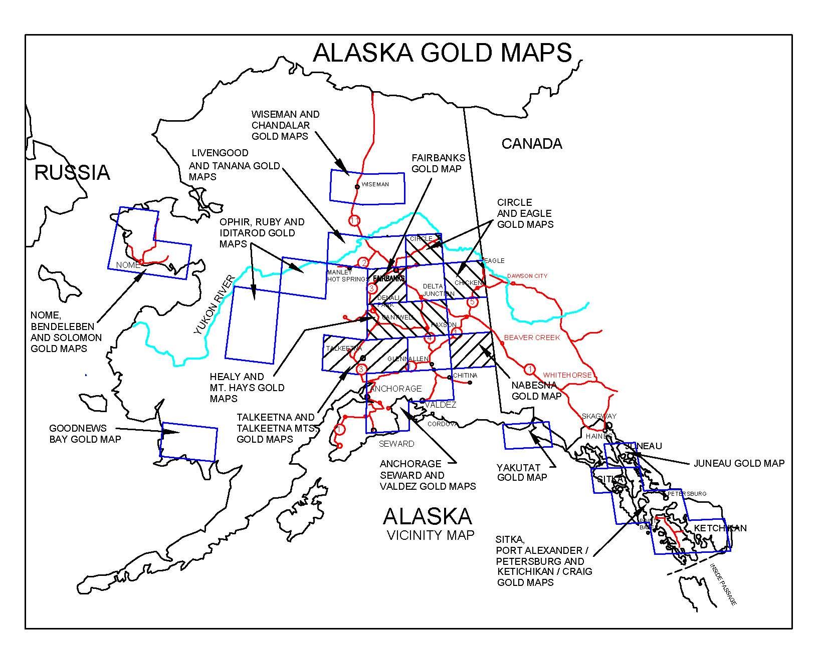 ALASKA GOLD MAPS, ALASKA GOLD PANNING, ALASKA GOLD PROSPECTING