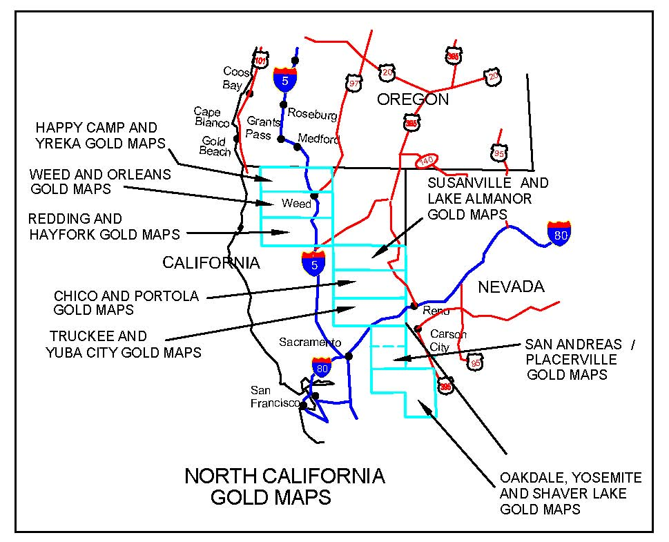California Gold Maps Treasure Maps Gold Panning Maps Gold - Northern california cities map
