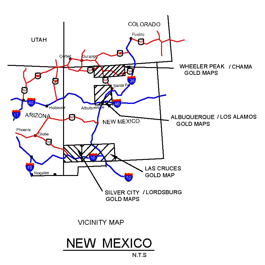 NEW MEXICO GOLD MAPS GOLD PLACERS AND GOLD PANNING IN NEW