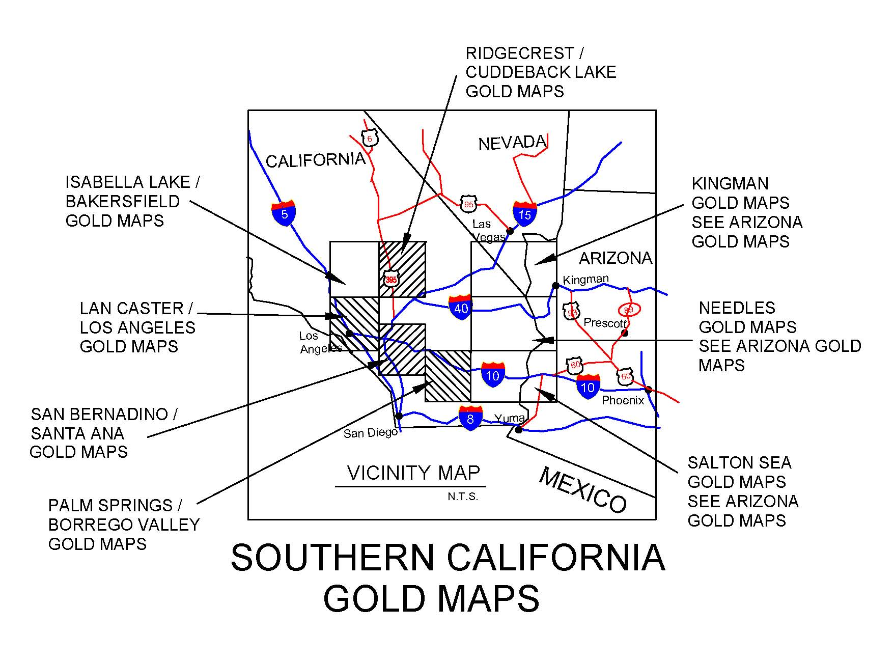 California Map Southern Ca.California Gold Maps Treasure Maps Gold Panning Maps Gold