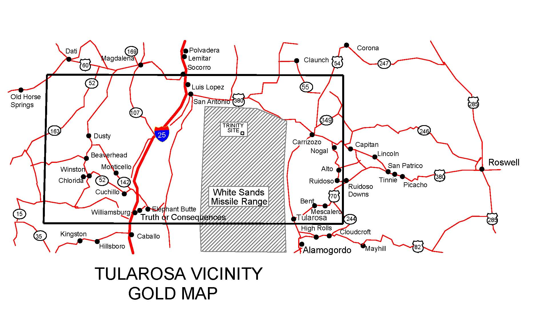 tularosa new mexico map New Mexico Gold Maps Gold Placers And Gold Panning And Metal